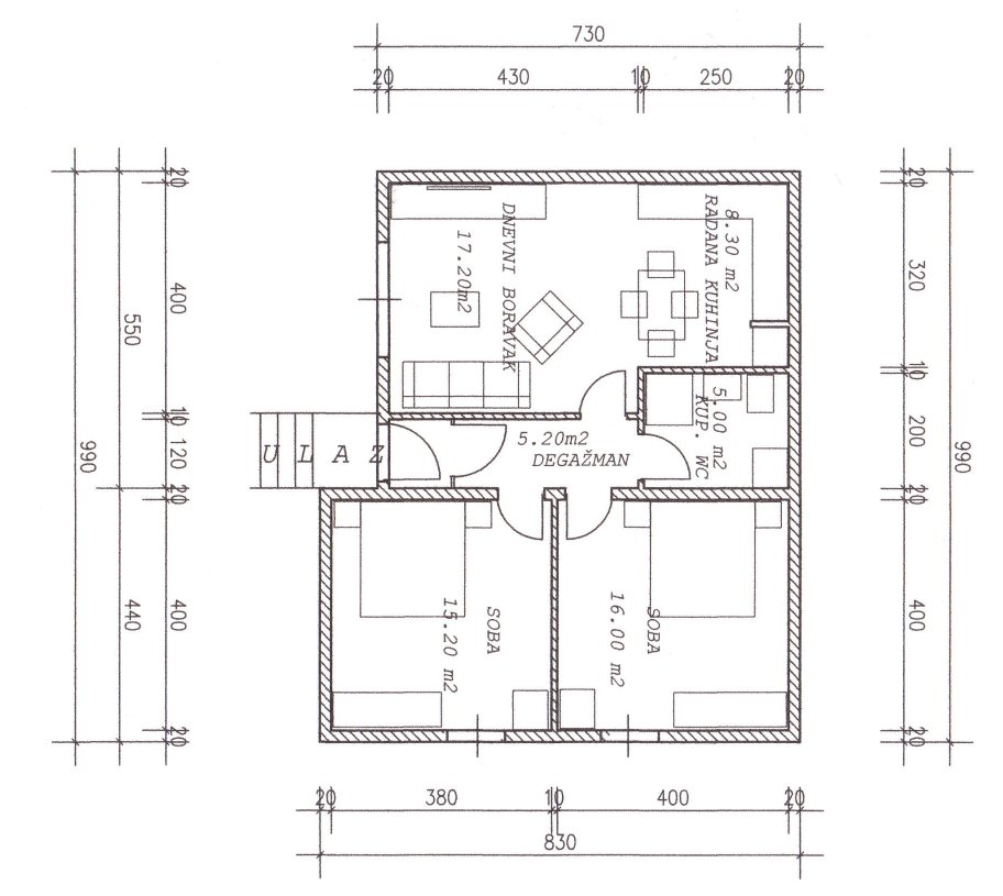 plan d'un appartement de 70m2